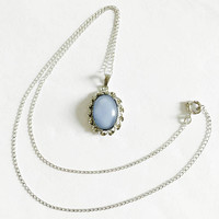 """Vintage Blue Moonglow Cabochon Glass Pendant in Sterling Silver Setting on 16"""" Chain, Sky Blue, Baby Blue Pendant"""