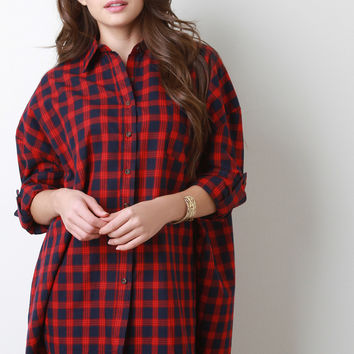 Oversized Plaid Long Sleeves Button Up Shirt