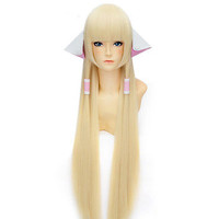 Chobits Chii 100cm super long pale milk blonde ears accessories COSPLAY wig Gift