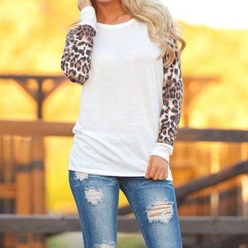 Fashion Leopard Splicing Printing T-Shirt
