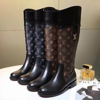 Louis Vuitton LV Women Fashion Leather Boots Low Heels Shoes