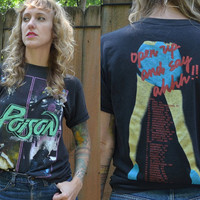 Vintage 80's Poison Open Up And Say Ahhh!!!! Promo Rock Tour T Shirt