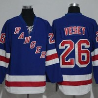 2017 NWT 26 Jimmy Vesey Jersey Men New York Rangers Jimmy Vesey Ice Hockey Jerseys Cheap Team Home Blue All Stitched Best Quality On Sale