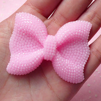 BIG Bow Cabochon (Light Pink) with Light Pink Rhinestones 53mm x 41mm Kawaii Big Cabochon Cell phone Deco Decoden CAB202