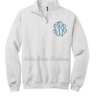 Monogrammed Ash Grey Quarter Zip Pullover available in sizes Small-XXLarge