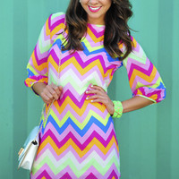 *Life Of The Party Chevron Dress: Multi* | Hope's