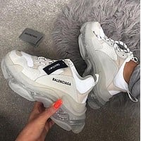 Balenciaga Hot Fashion Retro Transparent Platform Sneakers Shoes