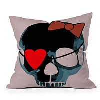 Amy Smith Blue Skull with Bow Throw Pillow