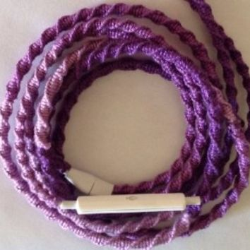 Handmade Wrapped Tangle-Free Earbuds | Ombre Purple| Genuine iPhone EarPods