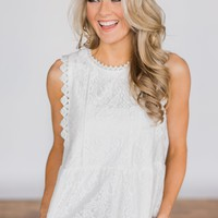 Flirty in Lace Top - White