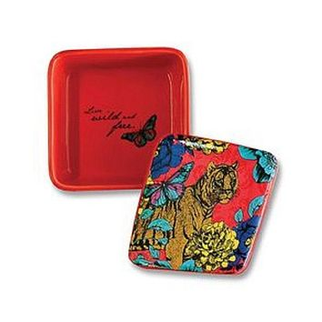 Flower Tiger Keepsake Ceramic Square Trinket Box in Red