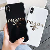Prada New fashion letter print couple protective cover phone case