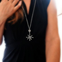 Silver Star Necklace, Big Pendant, Star and Circle with Silver Granulations, Art Jewelry, Abstract Human Star, Long or Short Necklace