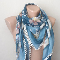 blue scarf brown  flower cream white pink cotton turkish yemeni oya handmade