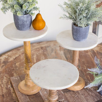 Set of 3 Wooden Display Stands with Marble Tops