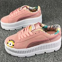 Puma Harlem series of fashion small yellow casual shoes F-CSXY pink