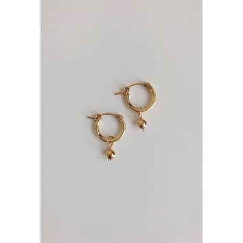Gold Dust Solitaire Mini Hoop Earrings - Christine Elizabeth Jewelry