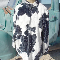 Vintage Cow Print Faux Fur Coat, Jacket, Beautiful 1950's, handmade womens