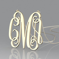 Personalized golden 1 inch monogram necklace nameplate pendent,Custom name necklace