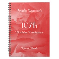 107th Birthday Party Guest Book, Coral Rose Notebook