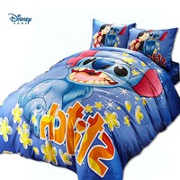 Cool blue disney Lilo Stitch comforter bedding set single twin full queen king size boy children cotton sheet set cartoon duvet coverAT_93_12