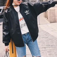 """Adidas"" Women Fashion Long Sleeve Zip Cardigan Leather Jacket Coat"