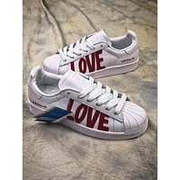 Adidas SUPERSTAR 80s HH W Love AQ6168 White Red Shoes