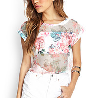 FOREVER 21 Mesh Rose Crop Top White/Peach