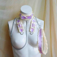 Premade Kitten play collar leash and cuffs set - Lilac cream - bdsm proof kittenplay gear ddlg kink petplay slave girl adult sexy Nekollars
