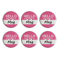 Meg Hello My Name Is Plastic Resin Button Set of 6