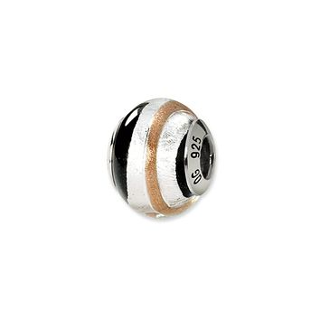 Sterling Silver, Black, Sterling Silver and Golden Murano Glass Charm