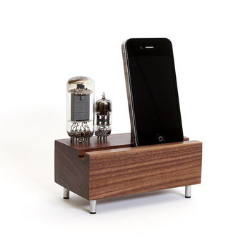 Smartphone stand handcrafted from walnut wood with double electron tubes