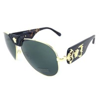 VERSACE VE2150Q 100271 Gold Havana Leather/Grey 62mm Sunglasses