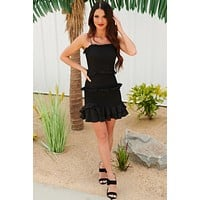 Flare For The Dramatic Ruffle Smocked Dress (Black)