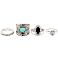Mineral Queen Silver and Turquoise Ring Set