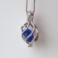 Cobalt Blue Sea Glass Sterling Silver Cage Flower Locket by Wave of LIfe