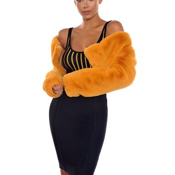 Amber Waist Length Faux Fur Coat