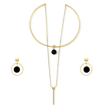 Gold-Tone Ball Bead Bar Open Circle Choker Necklace and Earrings SetBe the first to write a reviewSKU# vs515-02