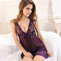 Hot S-3XL 2016 New Sexy V Neck Lace Nightgown Sleepwear Women Lingerie Good Quality Plus Size Nightdress Women Nightwear A002
