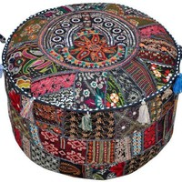 Black Bohemian Sari Patch Pouf Ottoman in 2 Sizes