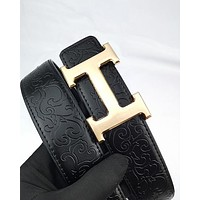 Hermes fashion hot seller men's and women's casual embossed leather belts Gold buckle