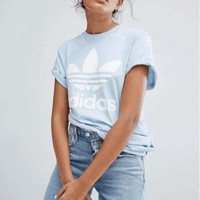 Adidas Originals Trefoil Boyfriend Short Sleeve Tunic Shirt Top Blouse-2