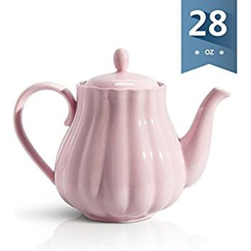 Sweese 2302 Teapot Pumpkin Fluted Shape, Pink - 28 Ounce
