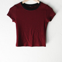 Striped Crop Tee - Wine/Black