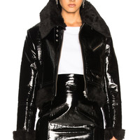 Palmer Girls x Miss Sixty Patent Leather & Faux Fur Jacket in Black | FWRD
