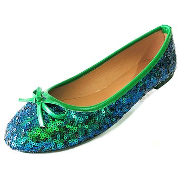New Womens Sequins Ballerina Ballet Flats Shoes 4 Colors Available 2001 Green Sequin 7/8