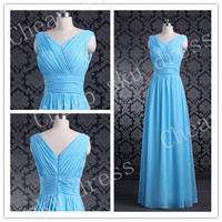 Fashion Style V-Neck Zipper Ruffle Long Chiffon Bridesmaid Dresses Party Dresses Evening Dresses Prom Dresses Formal Dresses 2014