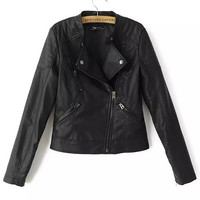 Black Notched Collar Faux Leather Jacket with Zipper