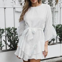 Long Flare Sleeve Dress Short Bow Women Dress Ruffle Party Dress For Evening Vestidos