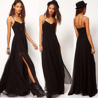 UK Women Sexy Summer Boho Maxi Long Evening Party Dress Beach Sundress Size 6-18